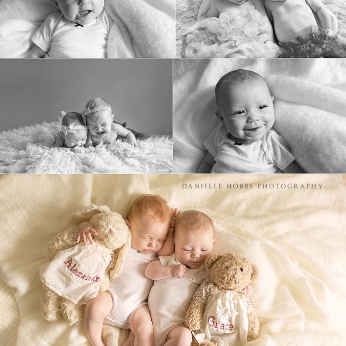 3 month twins - Milestone Portraits - Mount Pleasant SC