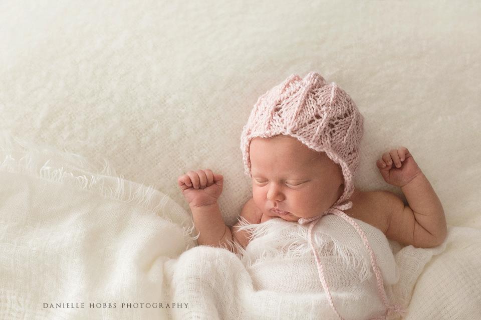 Simple Newborn Pink Hat - Danielle Hobbs Photography