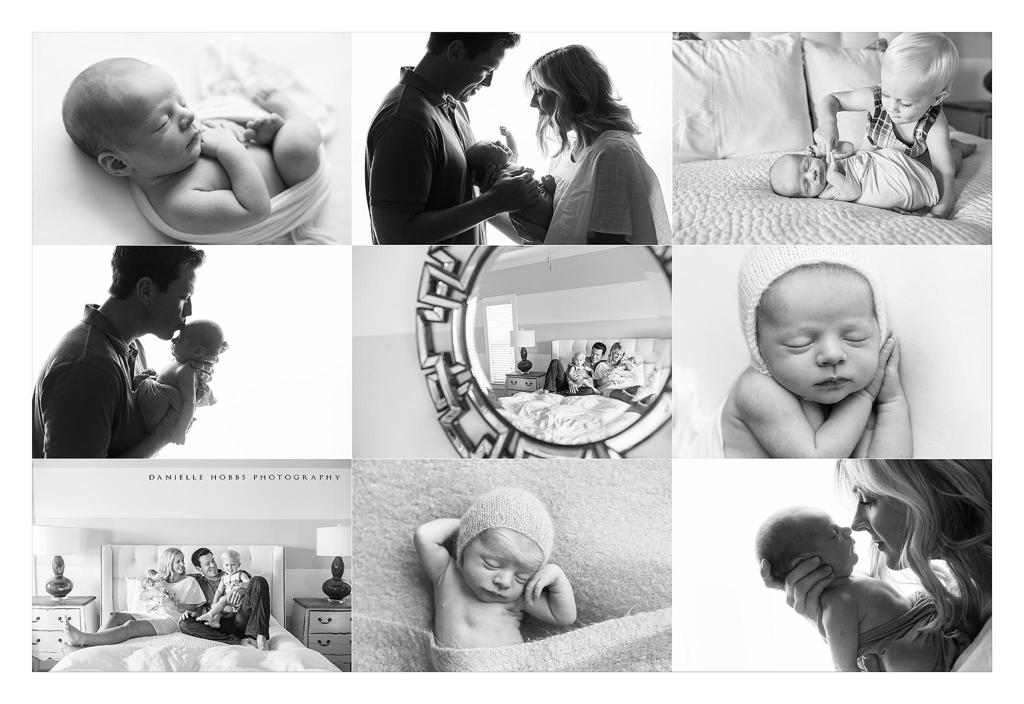 black and white newborn session