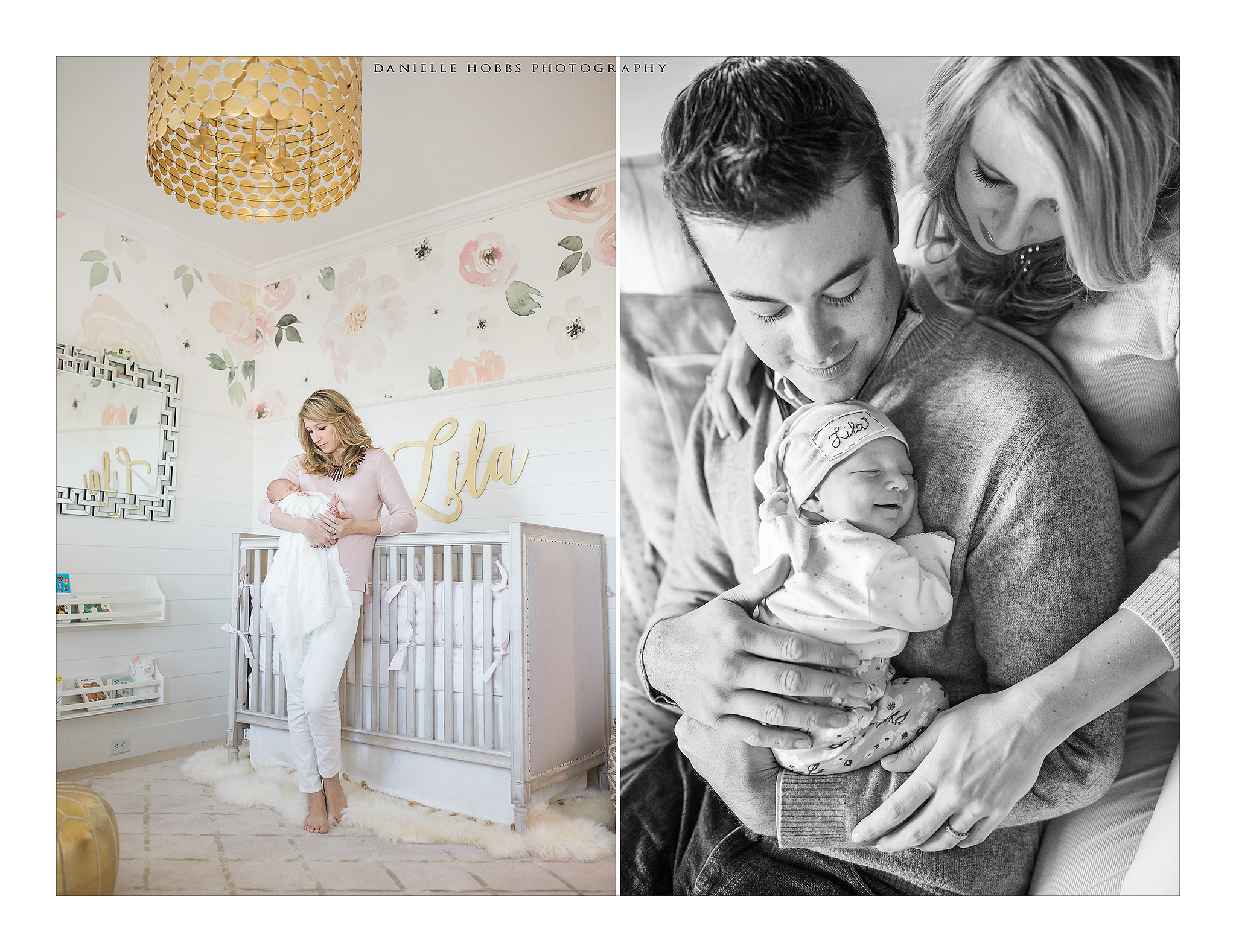 dc newborn photographer, pink and gold nursery, lifestyle newborn