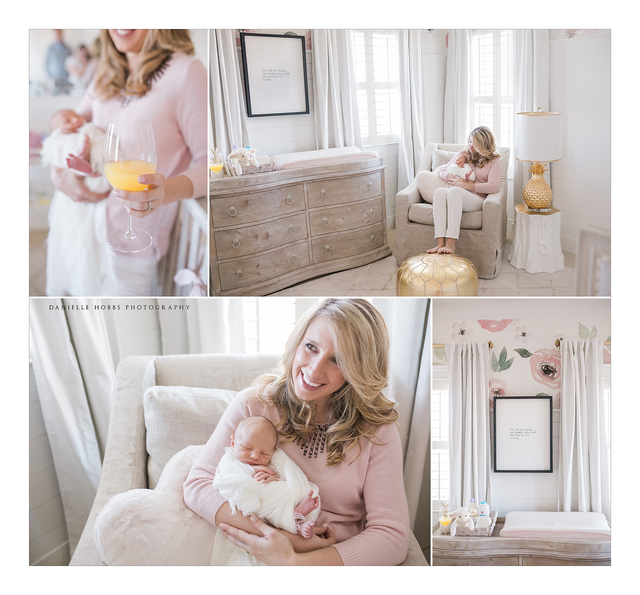 lifestyle newborn photography, pink and gold nursery, watercolor wallpaper