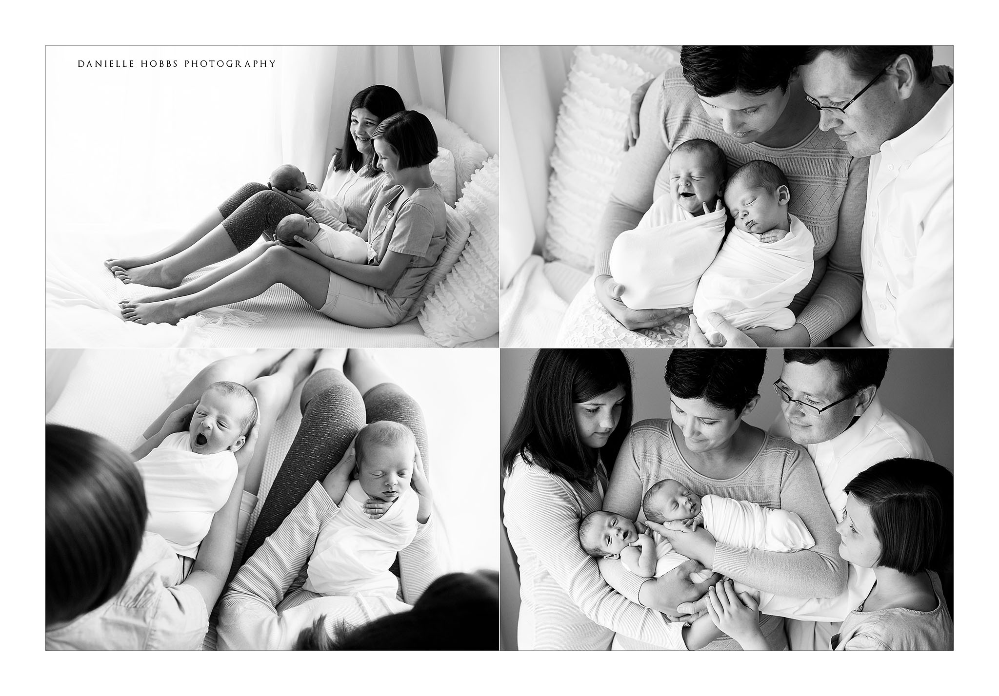 Identical twin boys with parents hands newborn twins hugging big sisters and family with identical twin boys