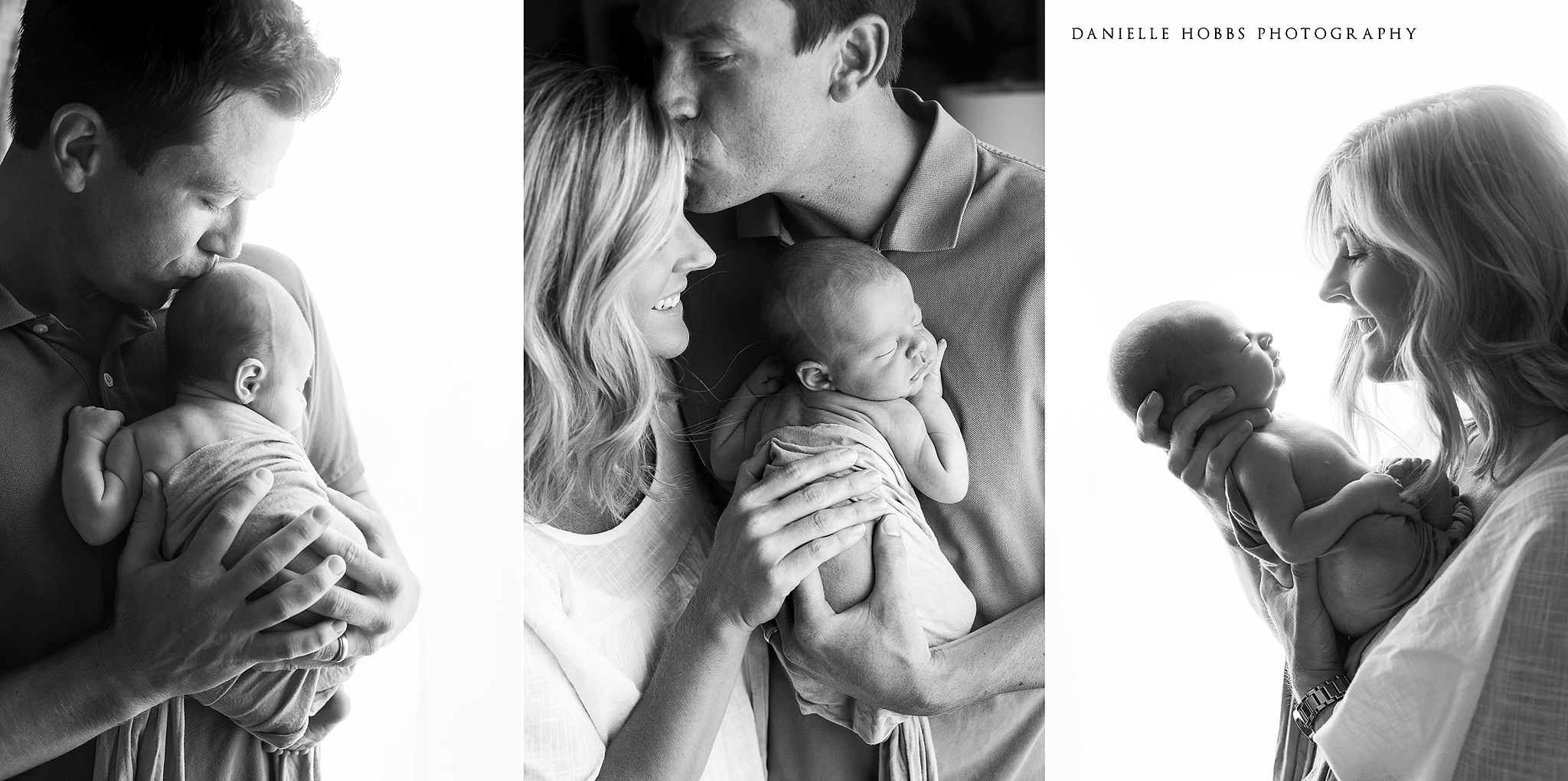 New Parents with baby black and white photography